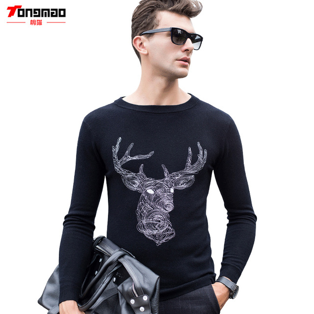 Autumn&Winter New Men's 100% Pure Wool Korean Version Casual O-neck European& American Style Pullovers Deer Embroidery Sweater