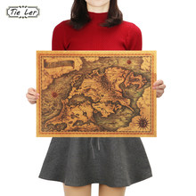 TIE LER Game of Thrones Mappa Vintage Kraft Paper Poster Bar Interno Cafe Pittura Decorativa Wall Sticker 42X30cm(China)