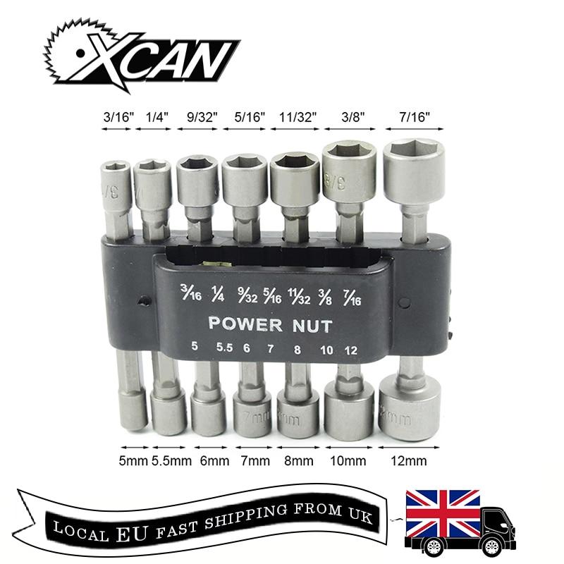 XCAN 14pcs 1/4'' Shank Power Nut Diver Set Quick Change Screwdrivers Nutdriver Socket Power Tools Accessories Nutdrivers