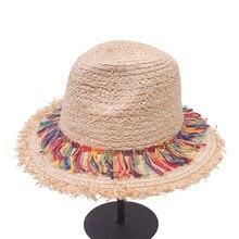 b723a20114d9b Happysunday Bohemian Ethnic Beach Hats For Ladies Tassel Rope Large Brim Sun  Hat Floppy Raffia Straw Hats Women Summer Caps