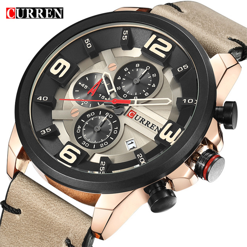 CURREN Chronograph Sport Man Watch Men's Watches 8288 Luxury Brand Leather Quartz Male Wristwatch Men Montre Homme Hodinky Clock megir mens watches leather strap square dial luxury quartz watch clock waterproof sport chronograph wristwatch montre for man