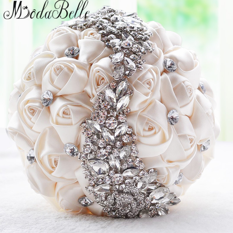 2016 Wedding Flowers Bridal Bouquets Red Artificial Rose Luxury Diamond Crystal Bouquet Bling Brides Ramo De Novia In From Weddings