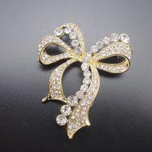 Fashion Gold Elegant  Bow Kont Rhinestone Lovely Shiny Women Pin Brooch,  Item No.: BH7427