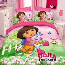 popular dora adventure twin/single size girls bedding set of duvet cover bed sheet pillow case 2/3pcs bed linen set