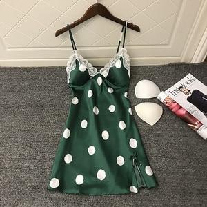 Image 3 - Daeyard Womens Silk Nightgown Sexy V Neck Lace Trim Sleepshirt Polka Dot Summer Dress Sleeveless Home Dress Sleepwear Homewear