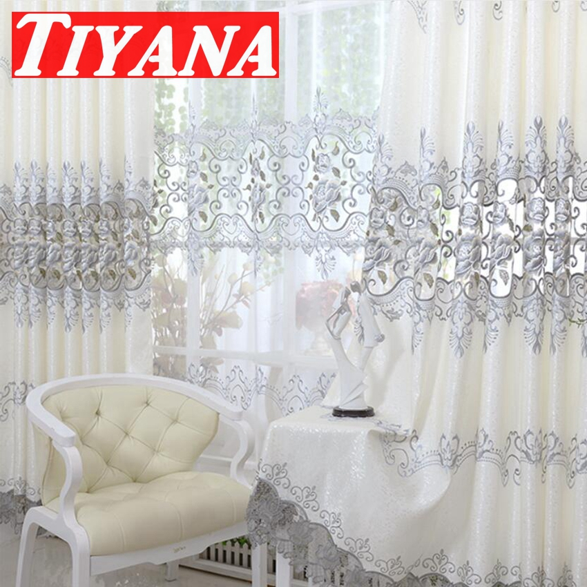 2017 new europe embroidered window curtain for living room for Latest window treatments 2017