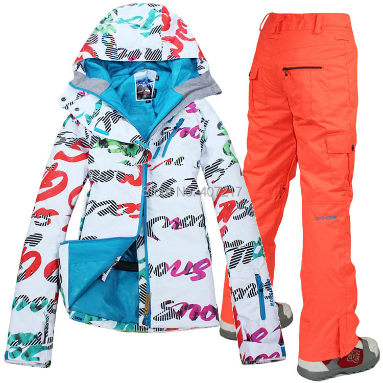 Prix pour 2014 hot femmes mesdames combinaison de ski snowboard costume ski costume femmes coloré lettre gribouillage veste + orange pantalon de neige porter vêtements de ski