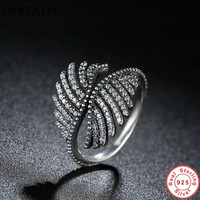INBEAUT Majestic Feathers Silver Zircon Ring With Clear CZ Wings Rings Women Wedding Jewelry Accessories 100