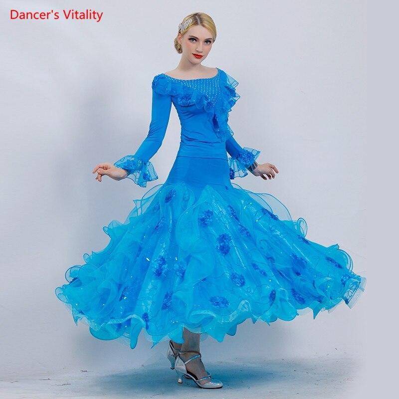 Adult Ballroom Dance Suit Long Sleeves Tops Big Swing Skirt 2pcs set For Women Latin Waltz