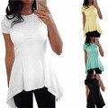 Nuevo 2017 Verano Sexy Mujeres de La Colmena de la Blusa de Manga Corta Cuello de O Peplum de La Cintura Slim Fit Tops Casual Sólido Camisas Blusas Tallas grandes