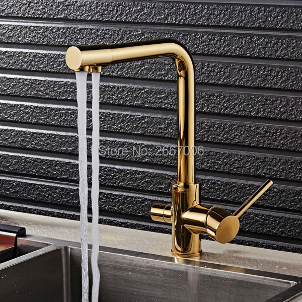 GIZERO Gold Drink Water Faucet Kitchen Purifier Taps Filter Taps Copper Brass Water Crane Dual Handle GI559