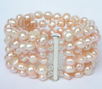 Fast shipping8 6row 9mm baroque pink pearls bracelet bangle magnet clasp j8831 Natural >>free shipping