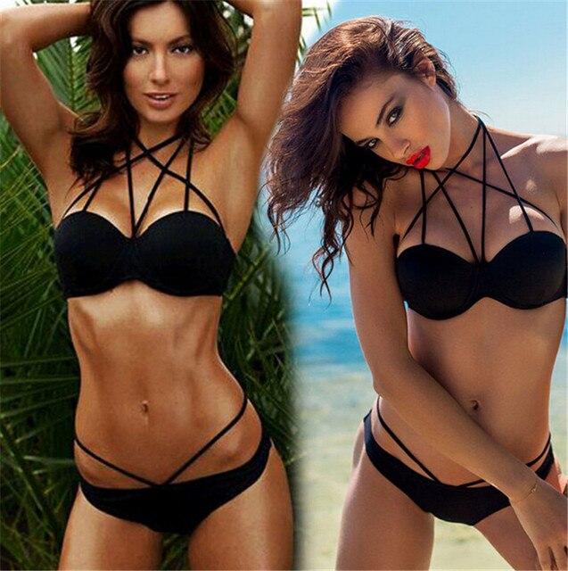 e255f4ea740b1 Sexy Brazilian Bikinis Black Bikini Set Halter Caged Criss-Cross Strappy  Swimwear Push Up String Bandage Swimsuit Set