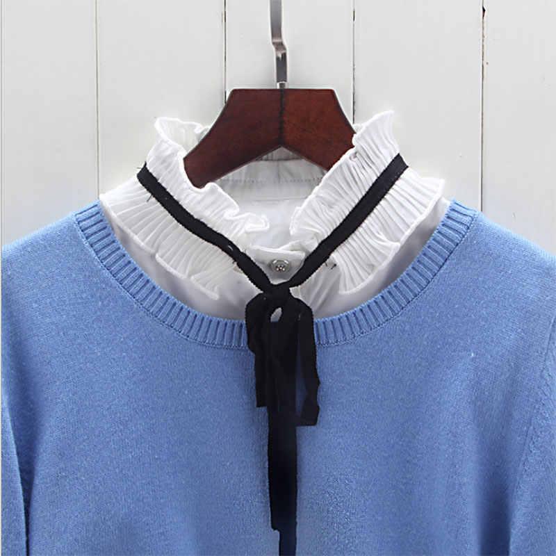 Рубашка поддельный съемный воротник винтажные женские рубашки воротники-обманки блузка с высоким воротом топы свитера Женская одежда Аксессуары KNG88