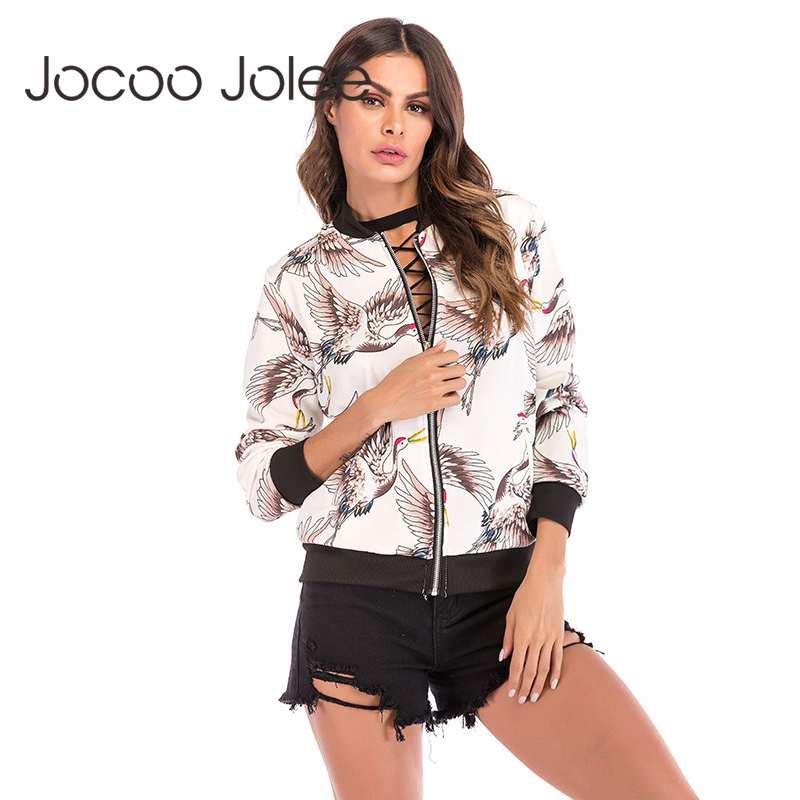 Jocoo Jolee   Basic     Jacket   Women Long Sleeve Red-crowned Cranes Print Coat New Fashion Striped Bomber   Jacket   Casual Windbreaker