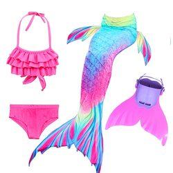 Crianças natação sereia caudas com monofin fin cosplay traje meninas crianças maiô ariel nadável sereia cauda para natação
