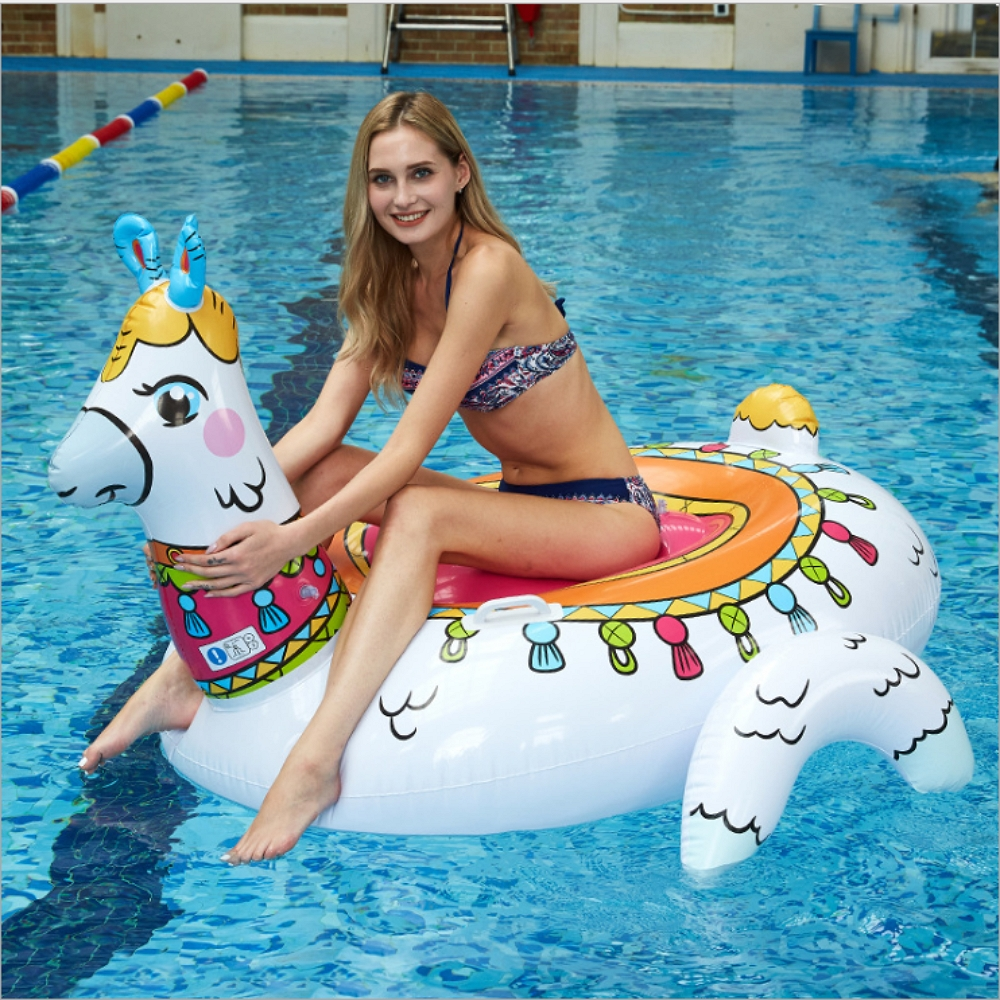 Giant 60inches Llama Pool Lounger Inflatable Alpaca Ride on Pool Float for Swimming Circles Inflatable Pool Raft Water Fun Toys