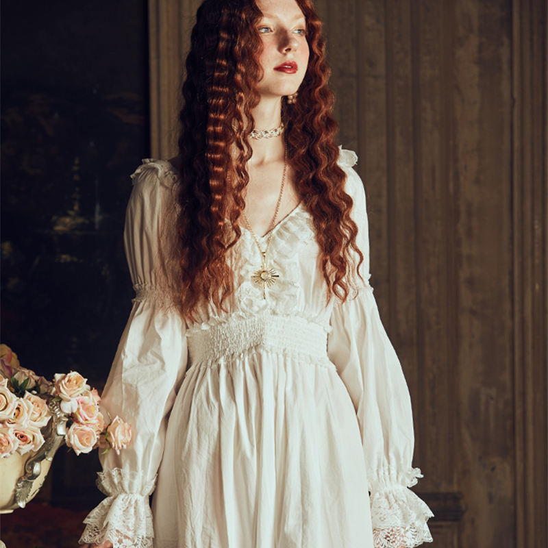 Lady Nightgown Retro Elegant Nightgowns Vintage Women Lace White Sleepwear Dress Cotton Long Sleeved Nightdress Gentlewoman
