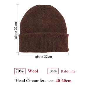 Image 3 - GZhilovingL الشتاء الشهيرة الدافئة الصوف قبعة حقيقية عادية Skullies قبعات منسوجة أرنب أسود لانا قبعات منسوجة الرجال الصوف قبعة سميكة