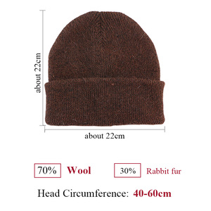 Image 3 - GZhilovingL Winter Famous Warm Wool Genuine Cap Casual Skullies Knitted Hats Black Rabbit Lana Knitted Hats Mens wool thick Hat