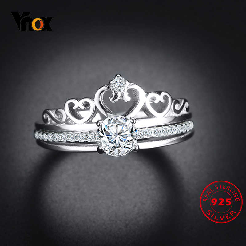 Vnox Heart Crown Bridal Wedding Sets Ring for Women 925 Sterling Silver with AAA Clear CZ Stone Insert Queen Engagement Anel