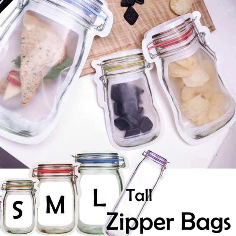 5Pcs/lot Portable Mason Jar Zipper Bags Reusable Snack Saver Bag Leakproof Food Sandwich  Snack Candy Storage Bag for Travel Kid