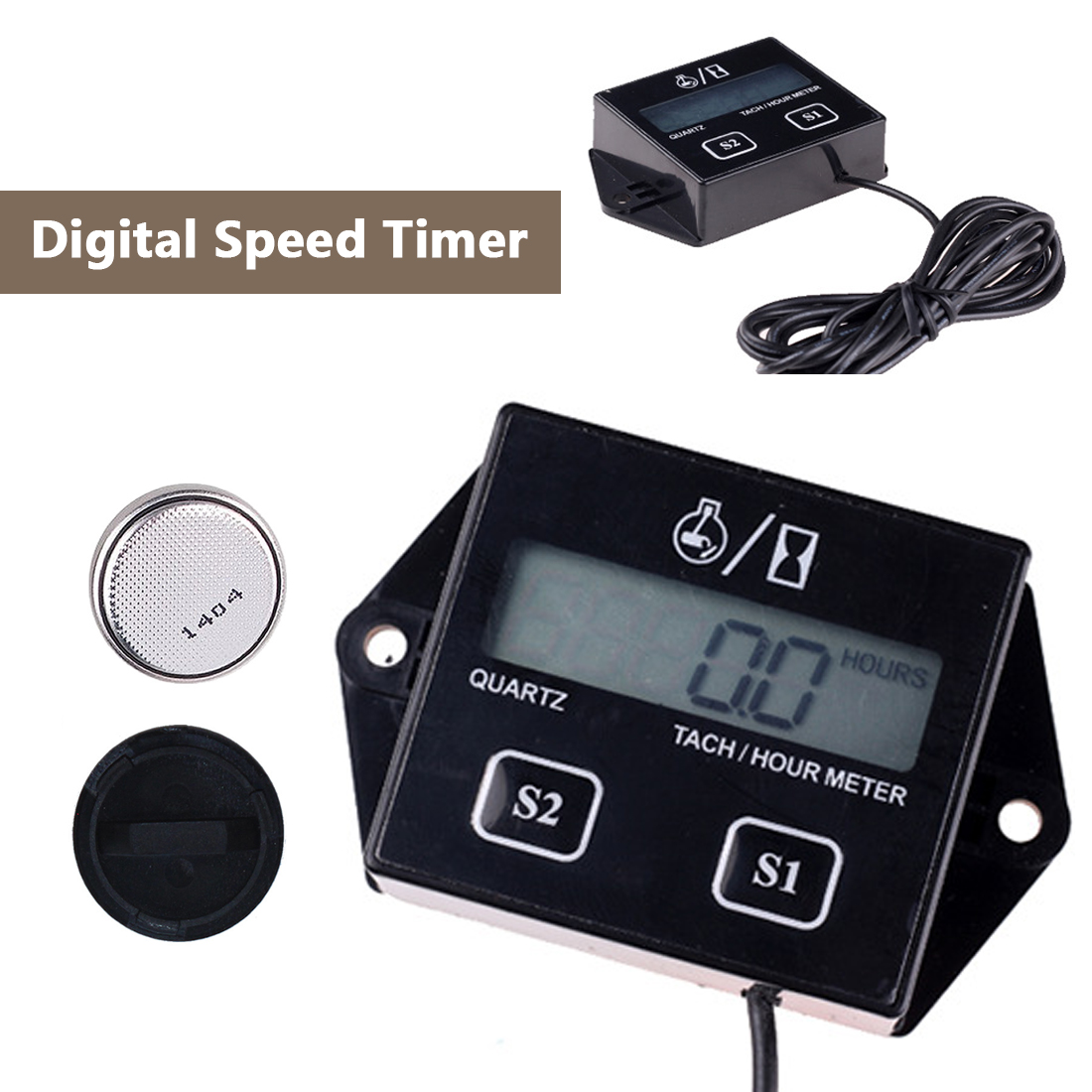 Digital Tachometer Engine Tach Hour Meter Gauge Inductive For Motorcycle Motor Boat Car Stroke Engine LCD Display Removable Batt