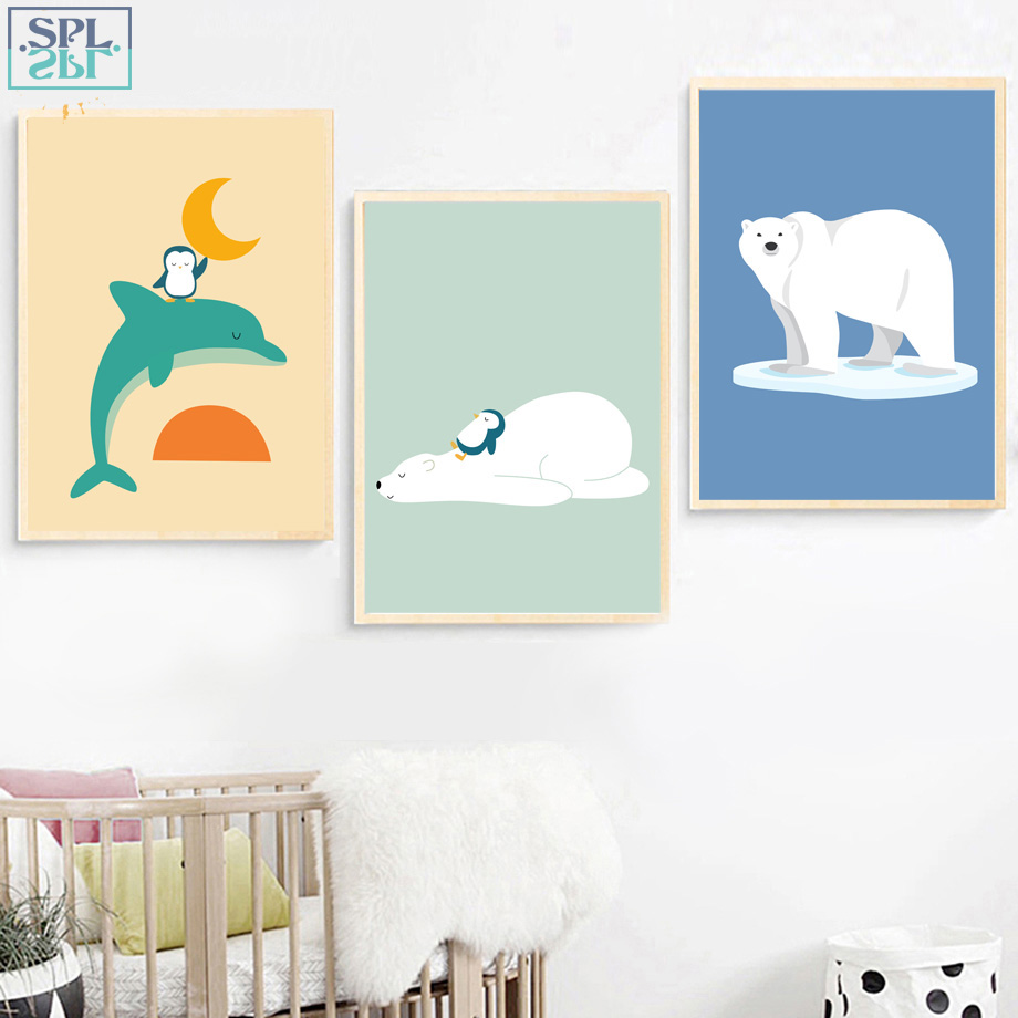SPLSPL Nordic Style Kids Decoration Whale Bear Canvas Painting Nordic Posters And Prints Animal Wall Painting Wall Pictures