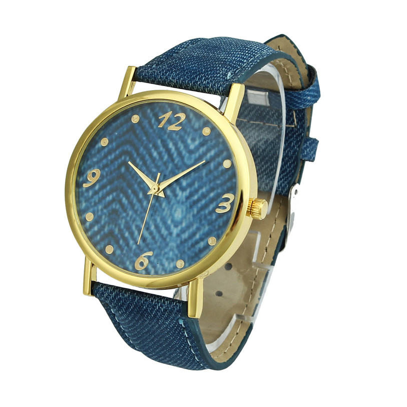 Hot 2017 New Fashion Superior Women Men Denim Cloth Strap Bracelet Wrist Watch Unisex Analog Quartz Gift Levert Dropship