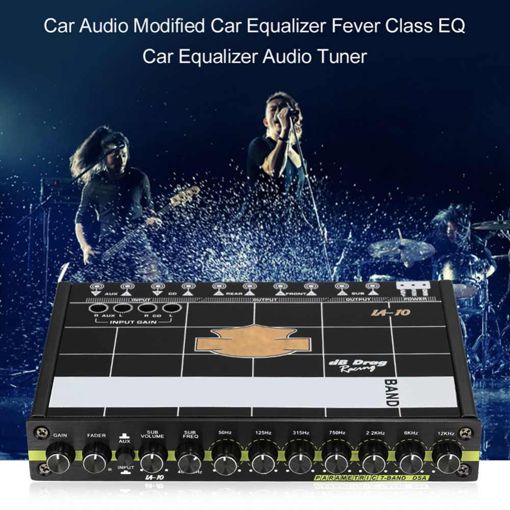 Car Audio Equalizer Modified Graphic Equalizer EQ 7s Car Audio Stereo Tuner  W/ 3 5mm Aux-in & Knob Amp Graphic Car Accessories