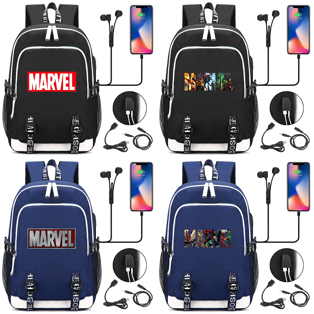 Iron Man Superman Batman Spiderman USB Headphone Jack Boy Girl School bag Women Teenagers Canvas Men Laptop Backpack PacksackIron Man Superman Batman Spiderman USB Headphone Jack Boy Girl School bag Women Teenagers Canvas Men Laptop Backpack Packsack