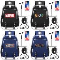 Iron Man Superman Batman Spiderman USB Headphone Jack Boy Girl School bag Women Teenagers Canvas Men Laptop Backpack Packsack