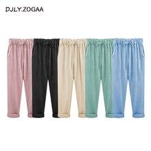 Женские брюки из льна и хлопка, одноцветные повседневные штаны размера плюс, дамские штаны, женские свободные шаровары, Брюки с карманами, M-6XL