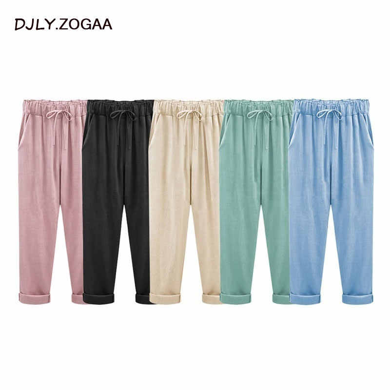 Women Trousers Linen Cotton Solid Casual Pants Plus Size Ladies Pants Female Loose Harem Pants Trousers With Pocket M-6XL
