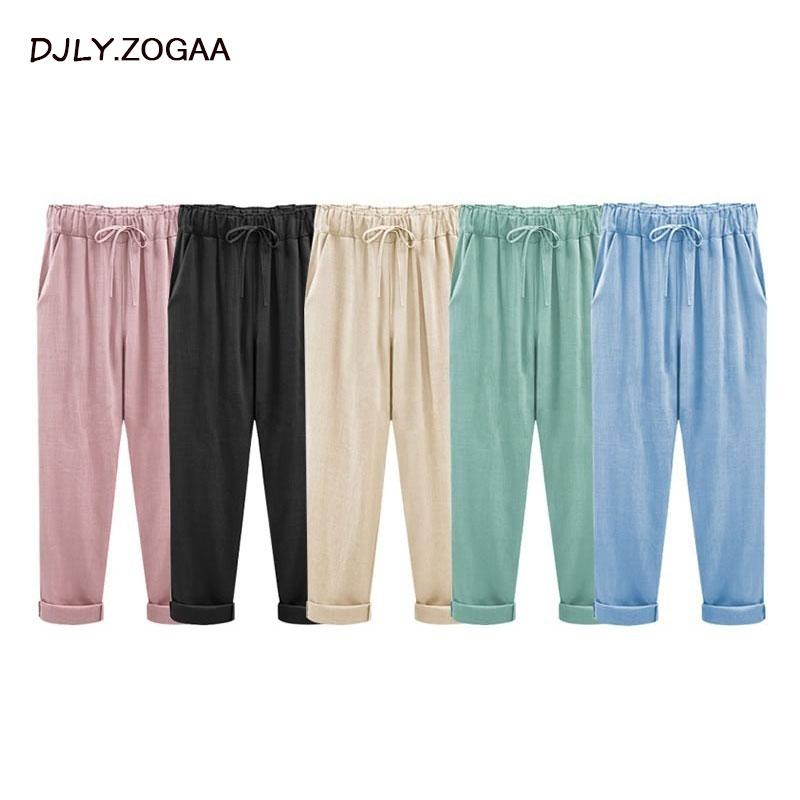 ZOGAA Women Trousers Linen Cotton Solid Casual Pants Plus Size Ladies Pants Female Loose Harem Pants Trousers With Pocket M-6XL