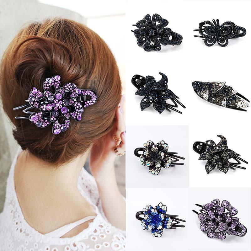 Fashion Colorful Flower Rhinestone Hairpin Hollow Heart Hair Clip Barrette Hair Accessories Women Hair Claw Headwear 43colors
