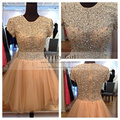 Amazing Heavy Beading Bodice O Neck Short Sleeves Party Dress Boutique Sexy Short Cocktail Dresses Vestido De Festa 2016