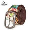 2016 Unisex cinturón marco de la flor de la marca vintage retro hecho a mano de cuero genuino mujer vaqueros opasky cinturones ff con flor de moda