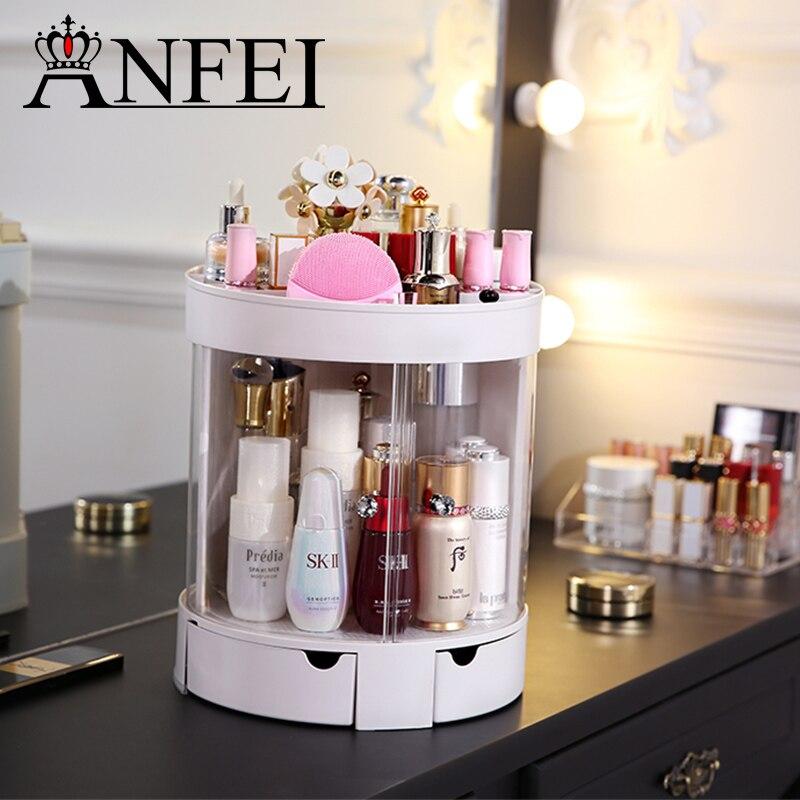 ANFEI Fashion Elegant White Sliding Door Makeup Box Lipstick Frame Cotton Swab Box Makeup Brush Box Jewelry Storage Box C5211