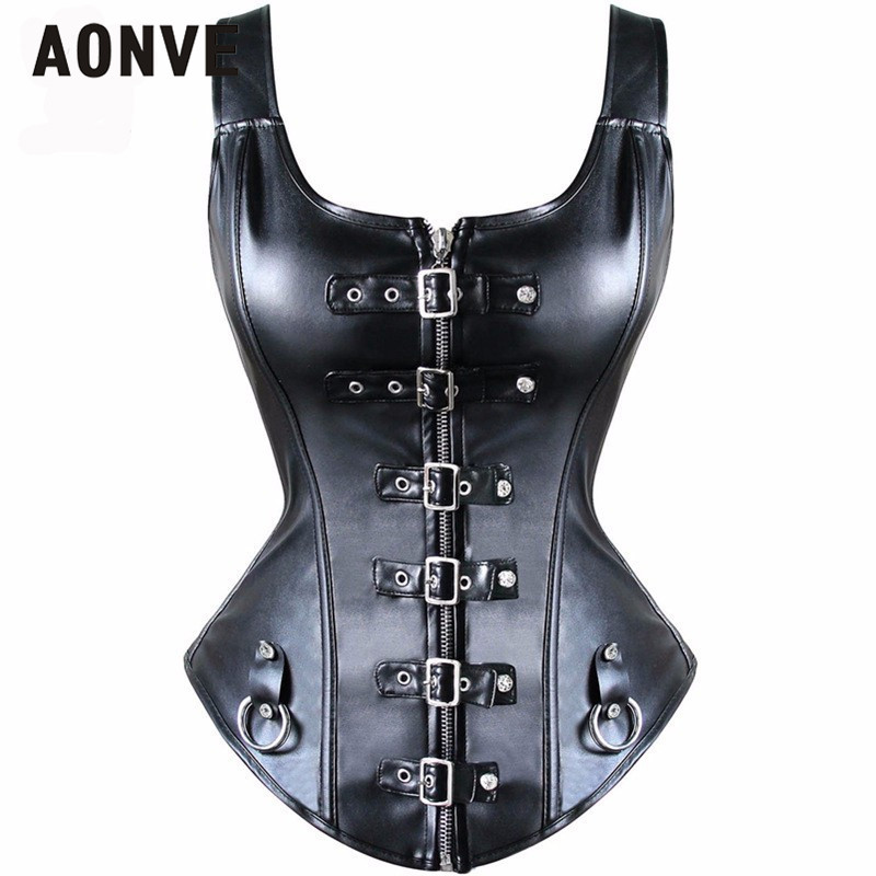 AONVE Leather   Corset   Steampunk   Corsets   and   Bustiers   Gothic Waist   Bustier   Zipper   Corset   Black Corselet Korsett for Women