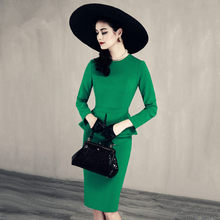 30- women vintage 50s green black long sleeve peplum wiggle pencil dress office work dresses elegant plus size vestido jurken(China)