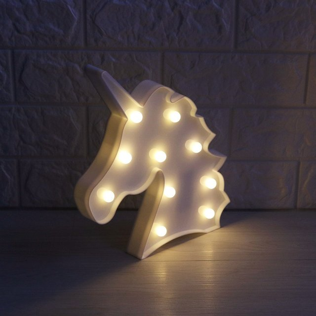 3D LED Unicorn Marquee Light Warm White LED Marquee Sign LED Light Up Unicorn Letters Lamp