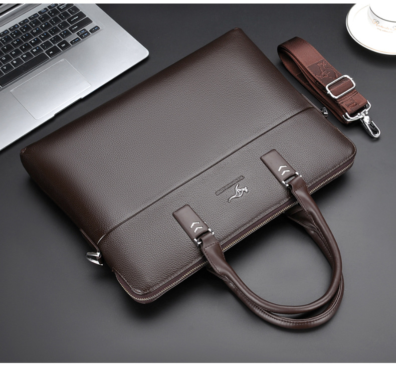 leather briefcase on a table