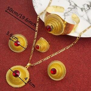 Image 2 - Hot Ethiopian Jewelry Sets Coptic Cross Gold Color Sets Nigeria Eritrea Kenya Habesha Style