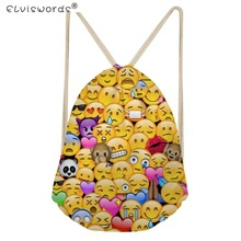 ELVISWORDS Girls Bags Funny Emoji Face Feminina Backpack Kids Small Drawstring Bag Children Travel Sport Bags Cinch Sackback