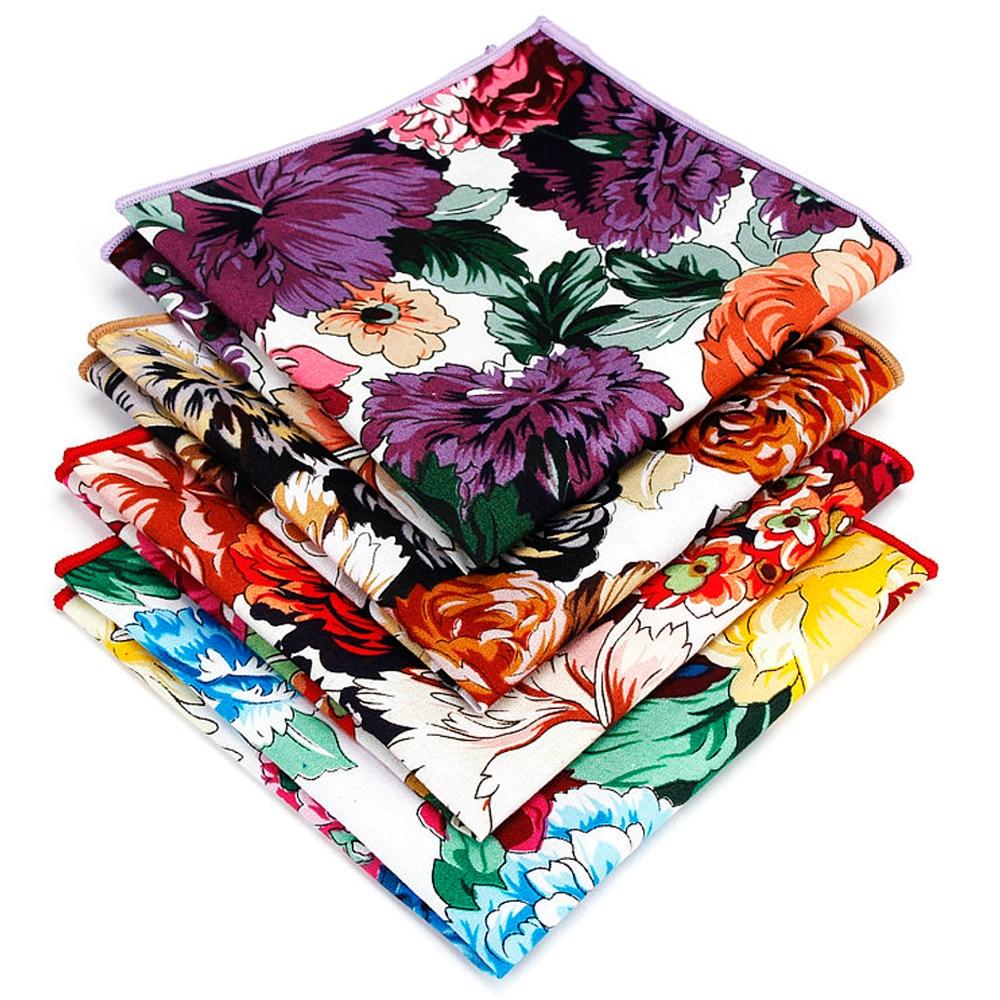 Men Colorful Flowers Pocket Square Wedding Party Vintage Hanky Handkerchief BWTYF0233