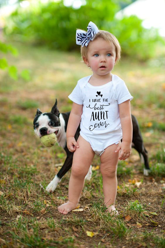 2019 Brand New Baby Girls Boys I Have The Best Aunt Ever Letter  Infant Bodysuits Newborn Print White Jumpsuits Summer Clothes