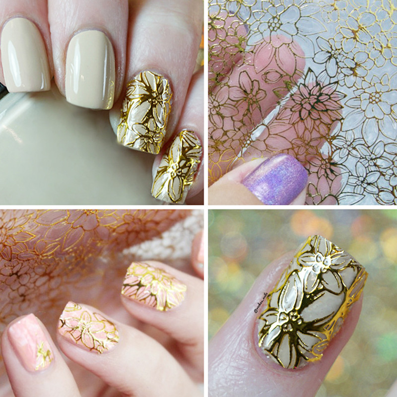 Colorful 1 Sheet Women Grils Lady Fashion Beauty 3D Flower Decal Stickers Gel Nail Art Embossed Manicure DIY Decoration