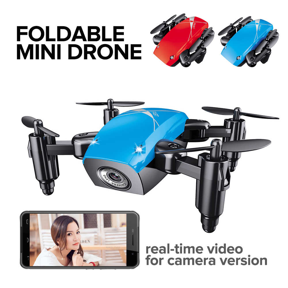 Rc Helicopter 4ch Rtf Foldable RC Mini Pocket Drone Micro Drone RC Helicopter Drones With Camera Hd Altitude Hold Wifi Dron Toys