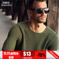 Enjeolon brand winter o neck knitted pullover Sweaters man,solid green grey 2 color Clothing,Man's casual Sweater MY3216